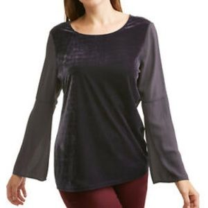 Faded Glory Velvet High Low Long Sleeve Medium